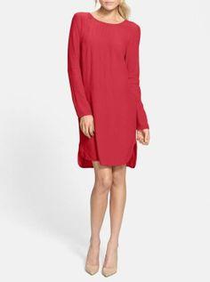 Simple & Chic - Long Sleeve Crepe Shift Dress