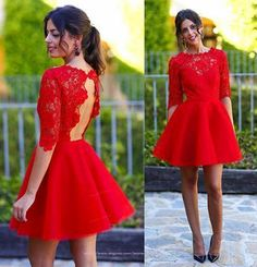 A-Line Homecoming Dress, Homecoming Dress Red Prom Dress, Lace Red Prom Dress, Short Prom Dress Homecoming Dresses 2018 Short Red Prom Dresses, Long Sleeve Homecoming Dresses, Formal Dresses For Teens, Half Sleeve Dresses, Backless Prom Dresses, A Line Prom Dresses, Sexy Dresses, Dresses With Sleeves, Short Prom