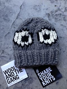 Wool and The Gang  - EEK Hat.  As seen in London Fashion Week 2014 : Knitting kit ordered from WATG. Super easy and quick.