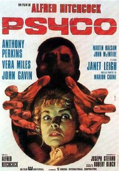 Classic film poster design —— Psycho (Alfred Hitchcock,1960 ...  [You will see several lobby posters photos of the movie Psycho on this board. This movie caused terror in some that saw it. That is how powerful it was. Tiffee Jasso]