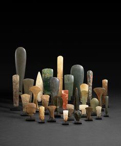 Collection of early celts, hand axes, and projectile points