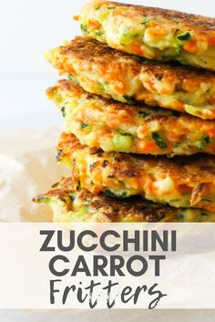 Zucchini Carrot Fritters - Brighten Up Fritters With A Healthy Twist. Include These Zucchini Carrot Fritters As A Nutritious And Delicious Side Dish For Dinner And Freeze A Batch To Enjoy Later. Through Chef Julie Harrington, Rd Chefjulie_Rd Healthy Side Dishes, Vegetable Side Dishes, Side Dish Recipes, Veggie Recipes, Baby Food Recipes, Appetizer Recipes, Cooking Recipes, Healthy Recipes, Vegan Zucchini Recipes