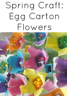 Beautiful spring egg carton flowers - easy kid craft