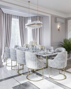 Home Room Design, Dining Room Design, Decor Interior Design, Luxury Dining Room, Elegant Dining Room, Dining Room Modern, Home Living Room, Living Room Decor, House Rooms