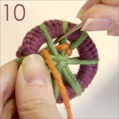 This tutorial uses thick thread/yarn so it is very easy to see how to wind around the spokes.  Dorset button photo tutorial