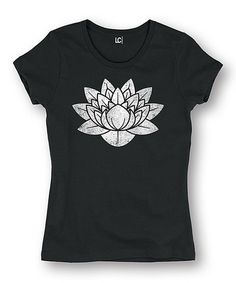 Look at this #zulilyfind! Black Distressed Lotus Fitted Tee #zulilyfinds