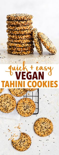 Quick + Easy Vegan Tahini Cookies (Gluten Free, Dairy Free, Vegan, Paleo) - If you have 30 minutes to spare, make these delicious vegan tahini cookies. They're healthy and easy to make – but more importantly, with their crispy caramelised edges, sweet chewy centre and an amazing tahini flavour… they're absolutely to die for. Easy cookie recipe. Quick cookies. Tahini recipes. Quick dessert recipes. Healthy dessert recipes. Healthy cookies. Vegan cookies. Vegan dessert recipes. #cookies #tahini Cookies Healthy, Quick Cookies, Gluten Free Cookies, Cookies Vegan, Delicious Cookies, Quick Dessert Recipes, Easy Cookie Recipes, Paleo Dessert, Sweet Recipes