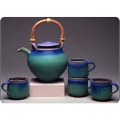 Sweetheart Gallery: Contemporary, Fine American Craft, Art, Design, Handmade Home & Personal Accessories - Maishe Dickman Hand Thrown Stoneware Turquoise Tea Set Extra Large, Ar