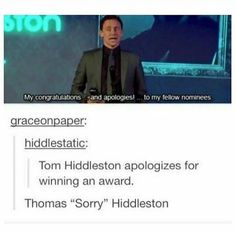Tom hiddleston may be my favourite marvel character - - - - #marvel #infinitywar #memes #sorry #avengers #avengersinfinitywar #loki #thor #awards #tomhiddleston #tom