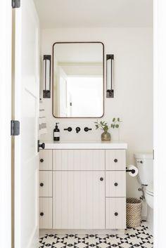 Bathroom Guest Powder Room Prep - Studio McGee Saving Money On Your Home Improvement Project: Articl Studio Mcgee, Diy Bathroom, White Bathroom, Parisian Bathroom, Bathroom Canvas, Natural Bathroom, Budget Bathroom, Bathroom Layout, Basement Bathroom