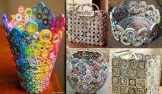 Corre no Arte Reciclada porque ensinamos, passo a passo, como fazer uma cesta com canudinhos enrolados de revista.