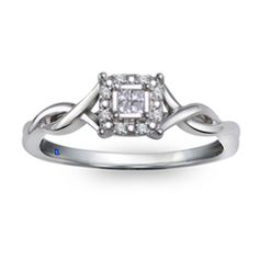 Zales: Cherished Promise Collection™ Princess-Cut Quad Diamond Accent Frame Promise Ring in 10K White Gold
