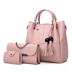 3 Pcs/Set PU Leather Bag Set With Large Capacity Shoulder Bag, Crossbody Bag And Credit Card Holder Women's Bags, Big Bags, Tote Bags, Mothers Bag, Crossbody Tote, Tote Purse, Pouch Bag, Hobo Bag, Shoulder Handbags