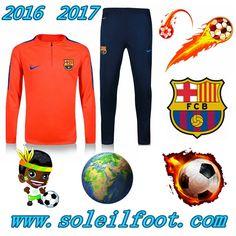 Homme: Nouveau Survetement Du FC Barcelone Orange Printing Saisson 16 17
