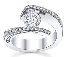 White gold tension-set round stone engagement ring with pave diamonds—can change to princess cut diamond❣ Novori