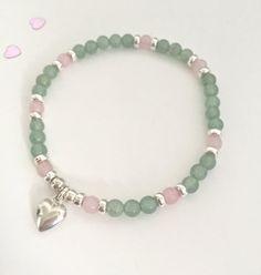 Aventurine and Rose Quartz bracelet Heart Chakra by ArianCaru on Etsy -- Migraine bracelet