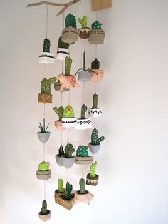 papier mache cacti | Flickr - Photo Sharing! Felt Succulents, Hanging Mobile, Mobiles, Wind Chimes, Cacti, Planter Pots, Diy Ideas, Creative Decor, Diy Decoration