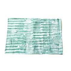 Linen Placemat Green Reeds Stripe Hand Batik Block by RusticLoom