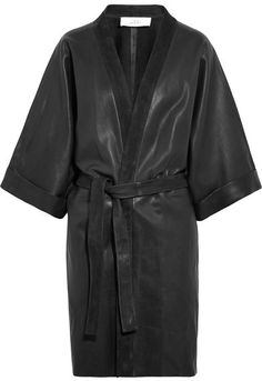 Black leather and suede Slips on leather (Lamb) Specialist cleanAs seen in The EDIT magazine Kimono Dress, Coat Dress, Real Leather, Black Leather, Leather Coats, Anja Rubik, Check Coat, Wrap Coat, Kimono Fashion
