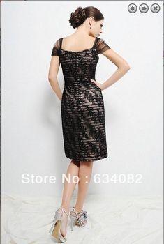 doprava zdarma 2014 dámské elegantní šaty plus velikost vestidos formles  čepice rukáv krátké černé krajky Matka nevěsty šaty 263db6edf8