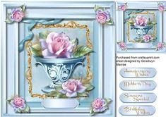 Beautiful Frosted Roses in a Bowl,  by Ceredwyn Macrae A lovely card with Beautiful  Frosted roses in a bowl to make and give to anyone has four greeting tags and a blank one for you to choose the sentiment,