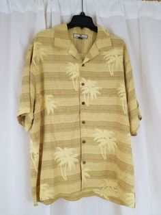 TOMMY-BAHAMA-Men-039-s-Short-Sleeve-100-SILK-Camp-Shirt-size-L-Yellow-Palm-Tree