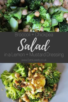 Recipe for a quick and healthy vegetarian and gluten free Broccoli and Chickpea Salad, perfect for packed lunches or picnics