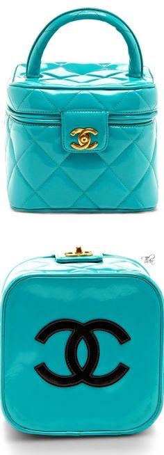 Chanel ~ Vintage Aqua Patent Vanity Case