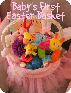 Easter basket for infant easter pinterest easter baskets babys first easter basket travis if you read this i know this is really premature lmao negle Choice Image