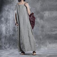 Dress - Women Summer Solid Color Loose Linen Dress
