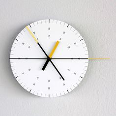 An aesthetic dictated by the disproportionate second hand. The graphical information provided is minimal, yet essential Tens And Units, Big Wall Clocks, French Clock, Outdoor Clock, Wall Clock Design, Clock Decor, Time Design, Creative Walls, Accessories