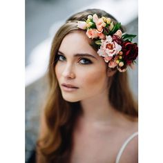 16 Flower Crowns for Your Fall Wedding ❤ liked on Polyvore featuring accessories and models