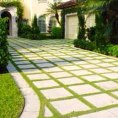 Concrete pavers and grass driveway. Could also use brick or line with bricks and put concrete pavers in the middle