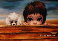 Big Eyed Art Boy | Keane postcard - A Boy and his Dog at the Beach early 1960s.