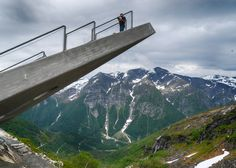 This triangular viewing platform perched on the edge of a mountain was created by Norwegian studio Code Arkitektur as a rest stop for one of the country's picturesque tourist trails.