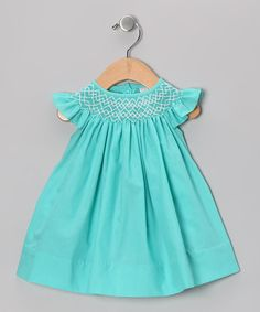 Hiccups Childrens Boutique - Girls Green Smocked Corduroy Bishop ...
