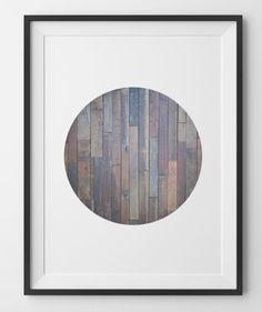 Wood Print Rustic Wood Modern Print Circle Reclaimed Circle