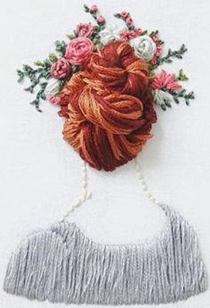 Diy Embroidery Patterns, Creative Embroidery, Silk Ribbon Embroidery, Embroidery Art, Cross Stitch Embroidery, Crochet Patterns, Contemporary Embroidery, Embroidery Techniques, Sewing Crafts
