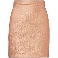 Carven Rose Gold Mini Skirt (€295) ❤ liked on Polyvore featuring skirts, mini skirts, short skirts, red short skirt, mini skirt, carven skirt and rose gold mini skirt