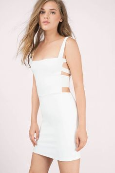 White, sleeveless bodycon dress with strappy caged back and wide necklines. Wear for a sexy date night!