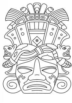 Mayan Mask coloring page from Mayan art category. Free Printable Coloring Pages, Free Coloring Pages, Coloring Books, Coloring Sheets, Aztecs For Kids, Maya Art, Rainbow Fish Book, Mayan Mask, Aztec Mask