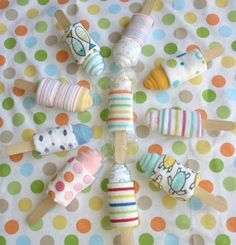 Baby Washcloth Popsicle ~ made using two baby washcloths