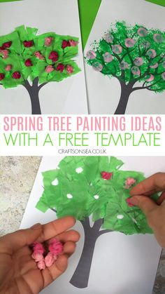 crafts for kids Easy spring tree crafts for kids and art parojects to make with our free tree template. Four fun ideas for toddlers, preschoolers or older kids. Spring Crafts For Kids, Easy Crafts For Kids, Art For Kids, Spring Crafts For Preschoolers, Toddler Summer Crafts, Crafts For Babies, Easy Crafts For Toddlers, Garden Crafts For Kids, Spring Art Projects