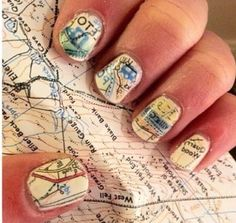 Nail art. Map idea Find your ways Follow your dreams. Passions