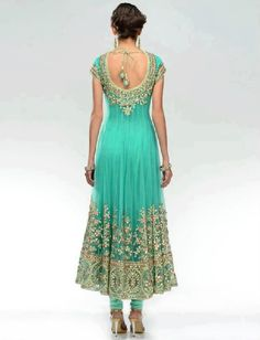 back look of Light green anarkali dress India Fashion, Ethnic Fashion, Asian Fashion, High Fashion, Women's Fashion, Fashion Design, Red Lehenga, Anarkali Dress, Indian Anarkali