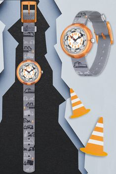 DIG IT (ZFBNP159) is a Swiss watch for kids and a gift that is sure to get their imagination grooving to the urban beat, DIG IT is Swiss made, BPA free and 100% cool. The striking grey textile strap with a cool truck design is machine-washable, while the digital printed dial and transparent orange case makes it a blast to learn to read the time. Swiss Watch, Truck Design, Cool Trucks, Learn To Read, Imagination, Swatch, How To Get, Urban, Orange