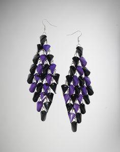 Purple and Black Layered Spike Dangle Earrings