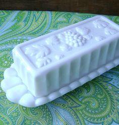 milk glass butter dish.