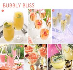 1. Classic Mimosa 2. Raspberry champagne cocktail 3. Lavender Champagne cocktail 4. Sparkling Champagne Punch 5. Pink Grapefruit Strawberry Champagne Granita 6. Lemon Gin Sparkling Champagne Cocktail.