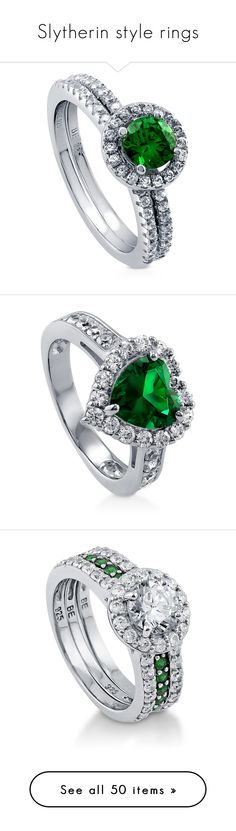 "http://rubies.work/0286-sapphire-ring/ ""Slytherin style rings"" by sheepies6 ❤ liked on Polyvore featuring jewelry, rings, 2 piece ring set, emerald, women's accessories, sterling silver cubic zirconia rings, sterling silver cz rings, emerald engagement rings, cubic zirconia engagement rings and cz engagement rings"